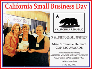 California Small Business Day flier with Assembly Member Audra Strickland presenting an award.