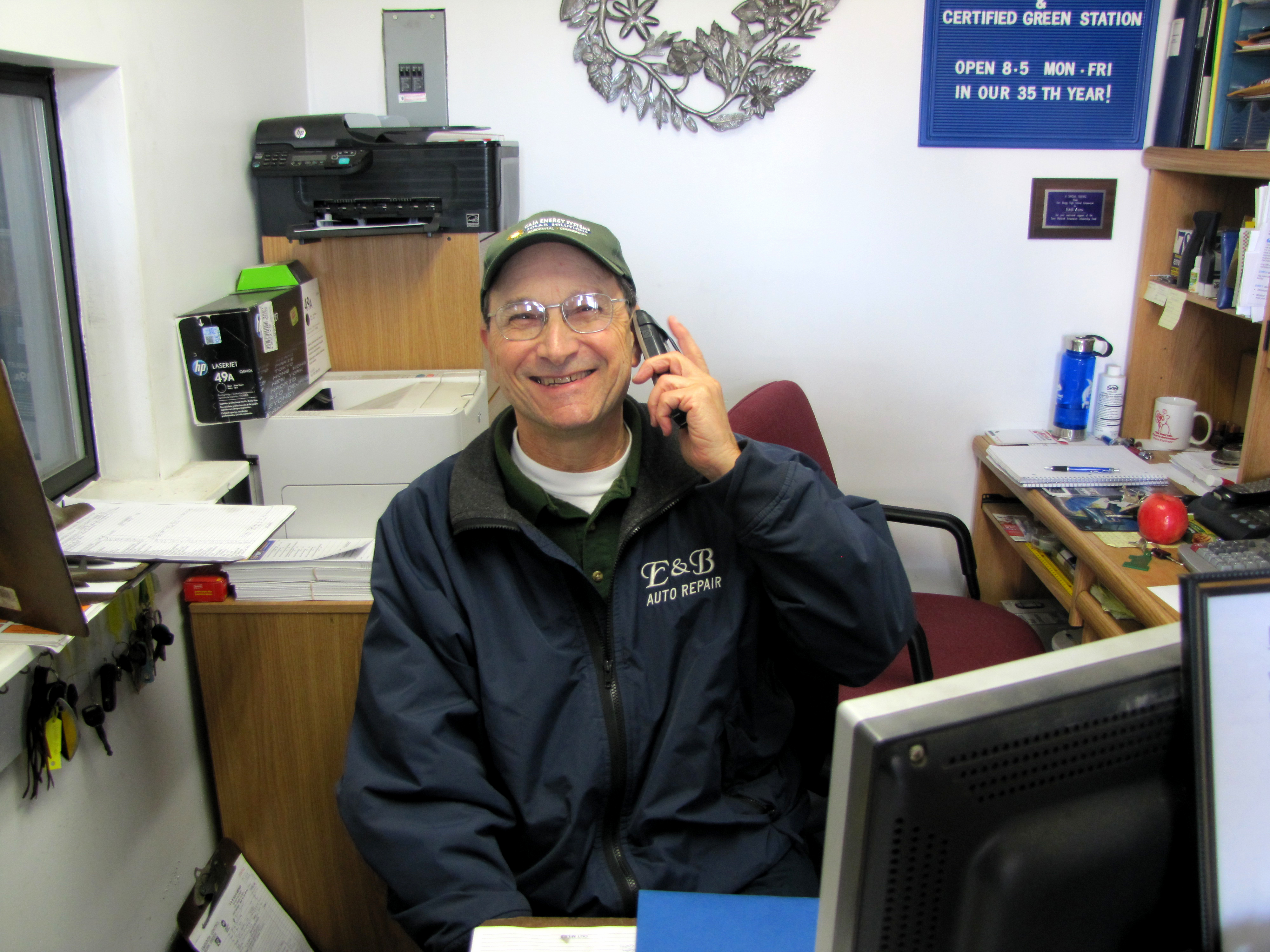 E&B Auto Repair Owner Mike Margulis in his office.