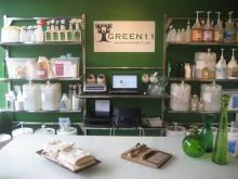 The sales counter of the Green11 store.